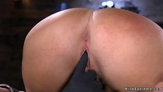 big tits slave shackled and clamped