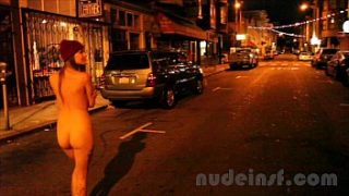 nude in san francisco short clip of girl walking streets naked late at night