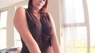pretty secretary strips and plays with her pussy