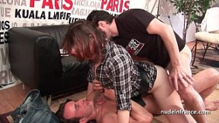 hard casting french redhead analized and double penetrated with a good facial