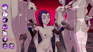 raven gets a terrific bukkake fucks and cums with a group of futas sexgame