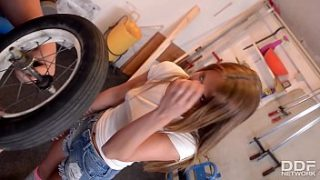 sexy teen in knee high socks rides cock in a repair shop