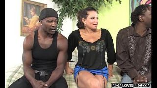 teri weigel takes two black cocks in front of her s.