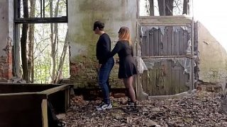 The best lubricant is his cum! Public fucking with a strapon in an abandoned place.