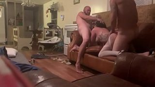 Dreadhead hippy slut wife takes two dick and cumshots in heels and thigh highs