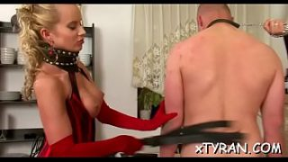 Dude fastened up and his wazoo fucked with a toy by his mistress
