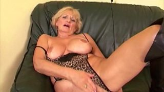 Grandma Puts On Her Sexiest Lingerie & Drains Two Young Cocks
