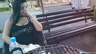 Safada Cumming in Public with interactive toy Public female orgasm interactive toy girl with remote vibe outside