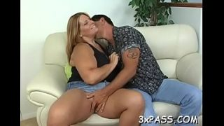 Sexy interracial sex between black chubby gal and white guy