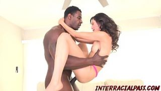 Teen Judy Jolie oils up for black cock banging after blowjob