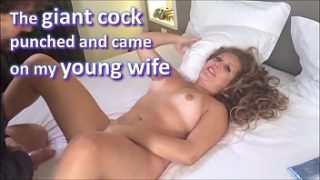 The giant cock friend punched and cummed on my brand new wife, and she loved it – real amateur whores and cuckolds – complete on red