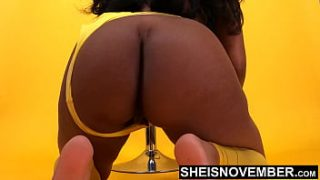 4k Exclusive Msnovember Model Photo Shoot, Yellow Lingerie BlackAss & Ebony Pussy Posing In Lingerie Squatting Spreading Her Ass Cheeks & PrettyPussy Undressing From Yellow Thong, Wearing High Class Sheer Stockings on Sheisnovember